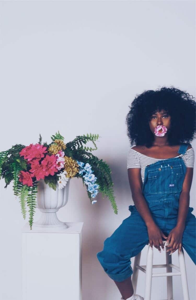 Afro, article, and flowers image
