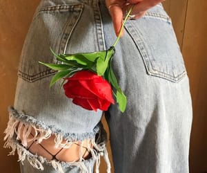 rose, denim, and fashion image