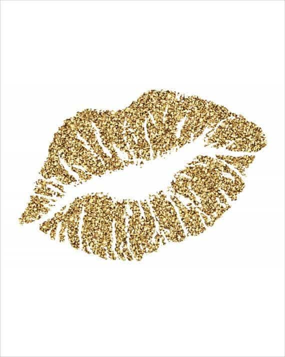 kiss, lips, and gold image