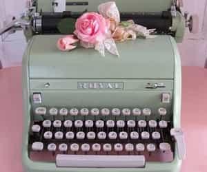 vintage, pink, and typewriter image