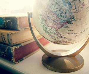 books, globe, and world image