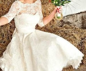vintage wedding dress, lace wedding dress, and half sleeves image