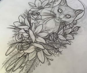 animals, flowers, and inked image