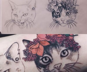 art, cat, and ink image