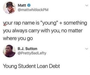 bills, bored, and debt image