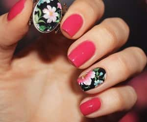 nails, flowers, and manicura image