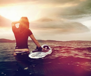 girl, surf, and sea image