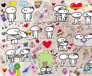 art, couples, and doodle image
