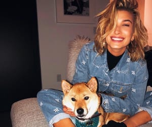 hailey baldwin, dog, and beauty image