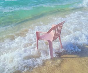 pink, beach, and chair image