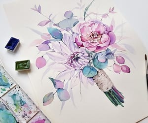 aquarelle, art, and blossom image
