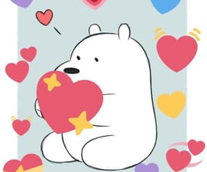 hearts, ice bear, and meme image