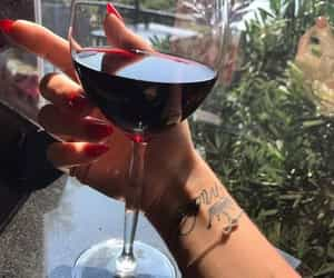 wine, drink, and tattoo image