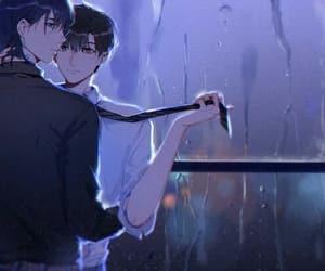 anime, boy, and rain image