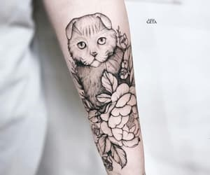 artwork, cat, and flower image