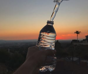 water, bottle, and sunset image