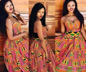 African woman, fabric, and kente image