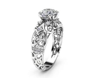 diamond ring, etsy, and cushion diamond image