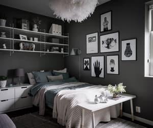 bedroom, dark, and decorating image