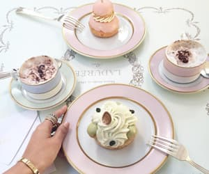 food, pink, and coffee image