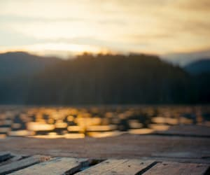nature, sunset, and lake image