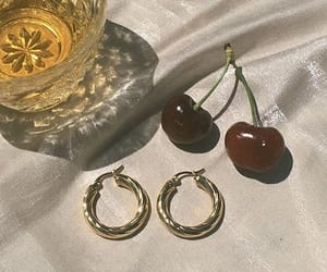 cherry, earrings, and fashion image