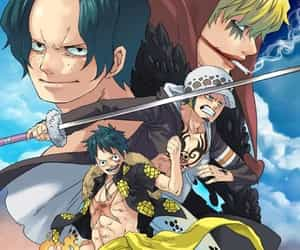 one piece, ace, and Law image