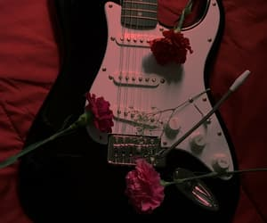 guitar, rose, and music image