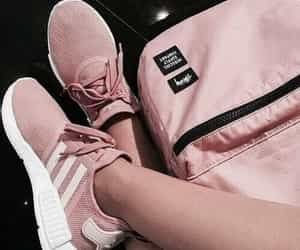 backpack, pink, and trainers image