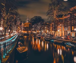 amsterdam, night, and travel image