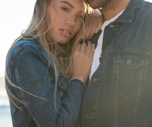 beach, couple, and denim image