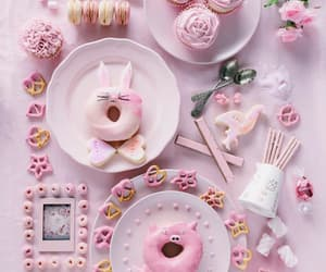 donuts, flowers, and pink image