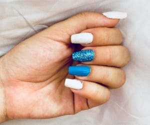 aqua, blue, and blue nails image