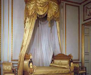 bed, gold, and bedroom image