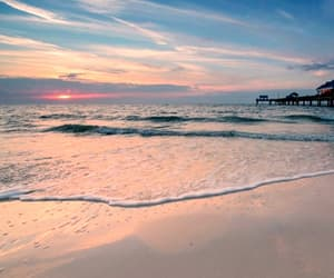 beaches, sunset, and water image