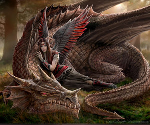 angel, dragon, and fantasy image