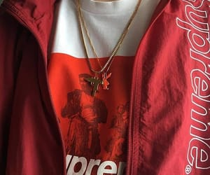 aesthetic, red, and supreme image