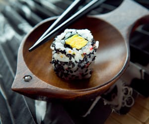 food, rice, and sushi image