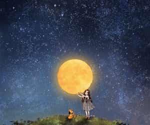 moon and girl image