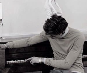piano, black, and guy image