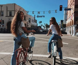 girl, bike, and friends image