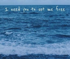 blue, Lyrics, and ocean image