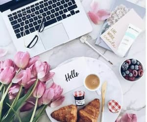 berries, croissant, and flowers image