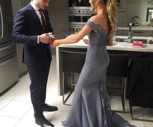 evening dress, off the shoulder, and prom dress image