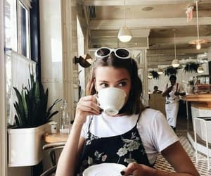 girl, coffee, and cafe image