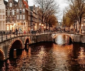 amsterdam, lights, and travel image