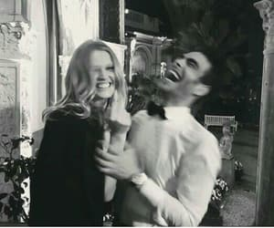 couple, black and white, and smile image