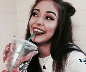 girl, starbucks, and makeup image