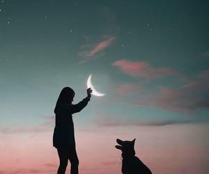 dog, girl, and moon image