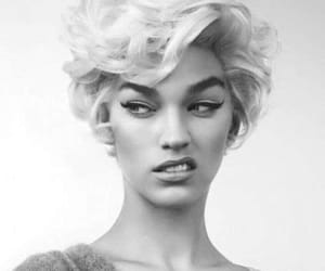 black and white, woman, and hair image